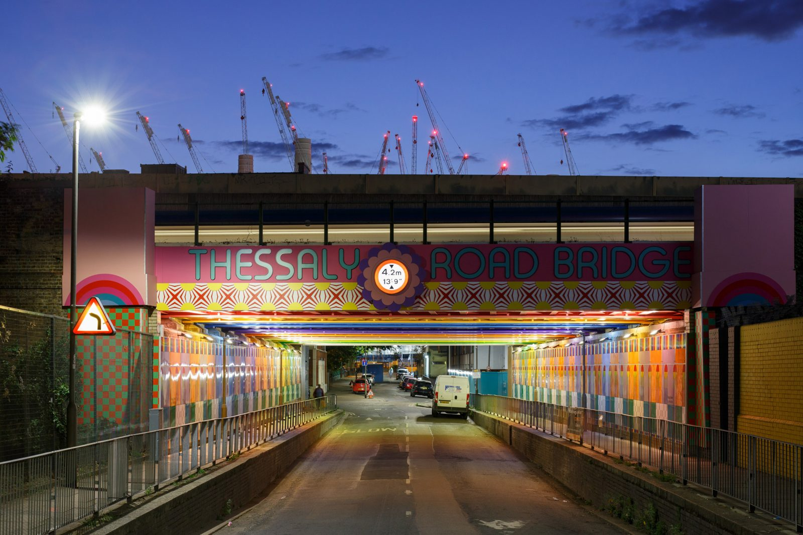 Happy Street by Yinka Illori design installation Thessaly Road Bridge