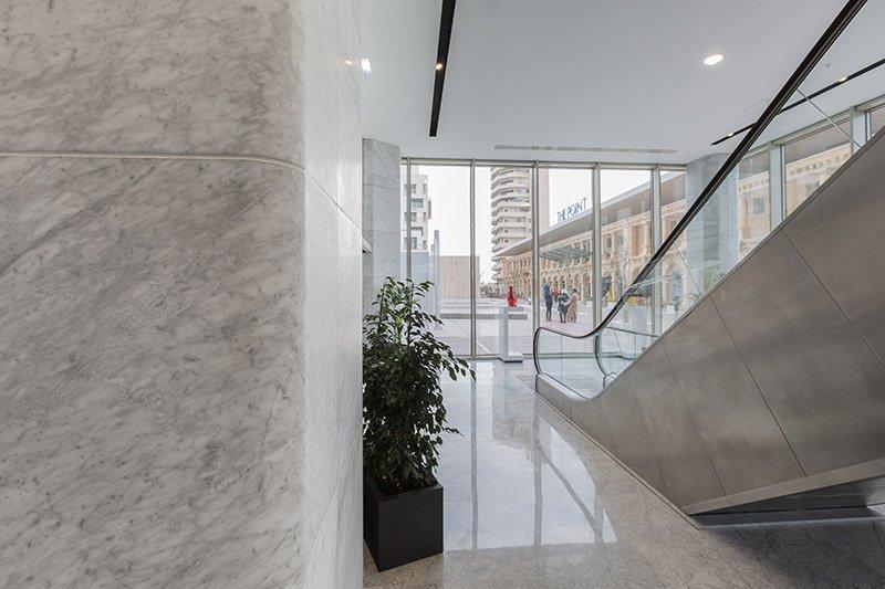 Carrara marble flooring and cladding Tigne The Centre