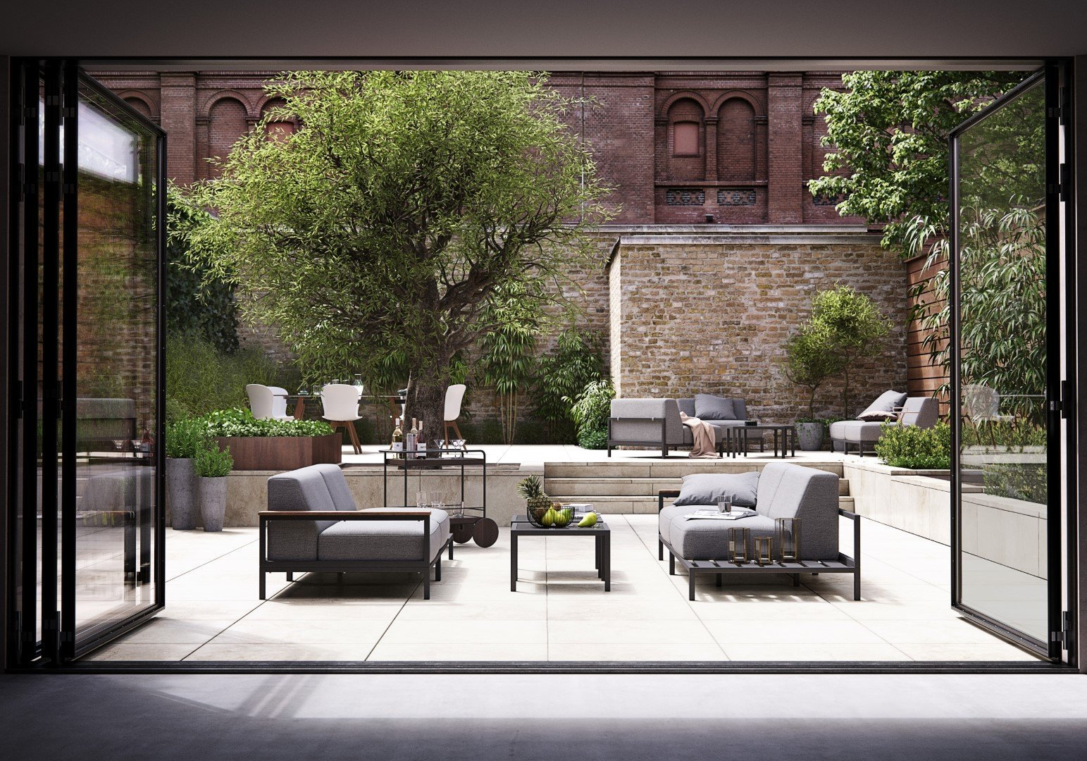 Outdoor lounging and dining furniture